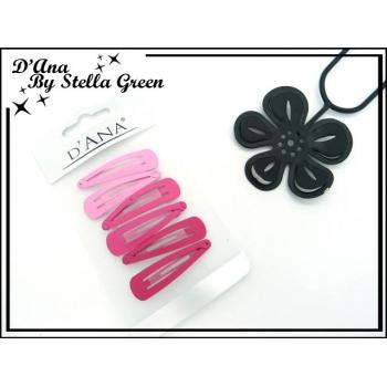Plaque de 6 petites barrettes  - Non échangeable clic-clac - Tons rose