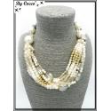 Collier - Multi rangs - Grosses perles - Blanc