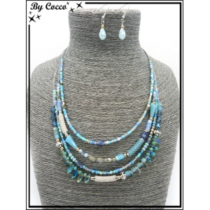 Parure - Multi rangs - Perles - Tons bleus