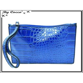Pochette semi-rigide - Vernis - Motifs écailles - Bleu