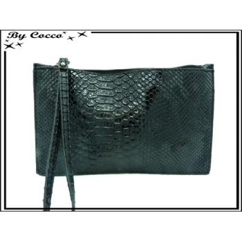 Pochette semi-rigide - Vernis - Motifs écailles - Noir