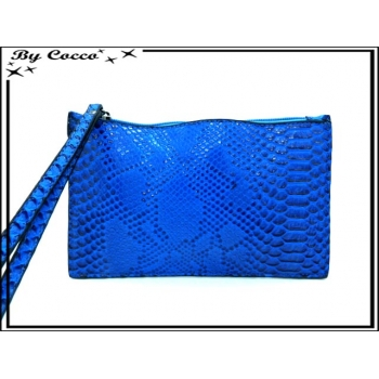 Pochette semi-rigide - Vernis - Motifs écailles - Bleu roi
