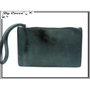 Pochette semi-rigide - Aspect cuir - Noir