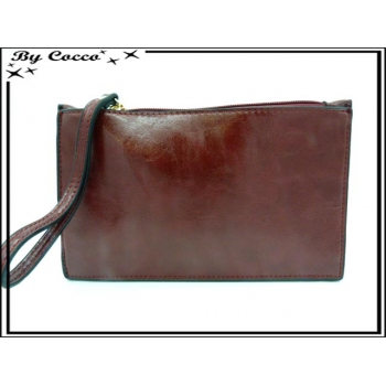 Pochette semi-rigide - Aspect cuir - Rouge