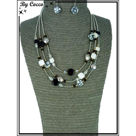 Parure - Multi-perles - Noir / Blanc