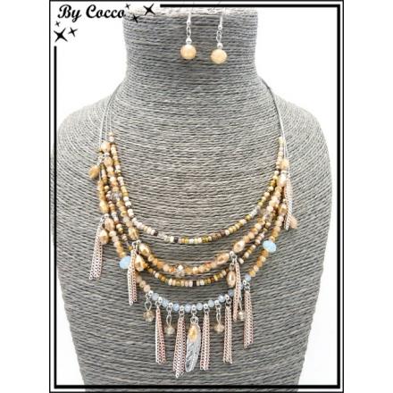 Parure - Multi rangs - Perles - Plume - Chaînettes - Tons beiges