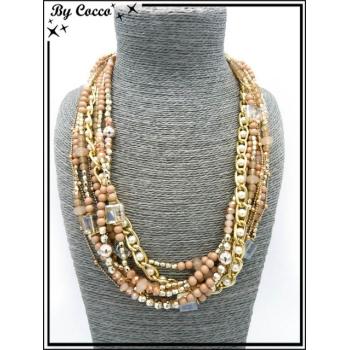 Collier - Multi rangs - Perles - Beige / Rose pastel