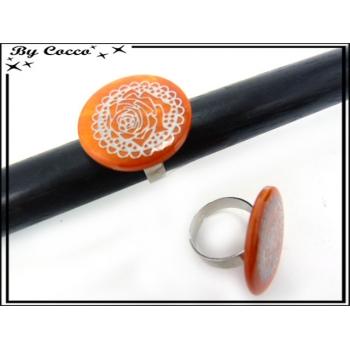 Bague - Rose argentée - Orange