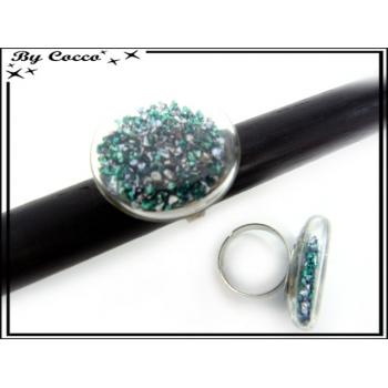 Bague en verre - Pépites - Vert / Emeraude / Gris perle