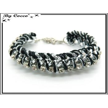 Bracelet - Strass - Entrelacés - Noir / Blanc