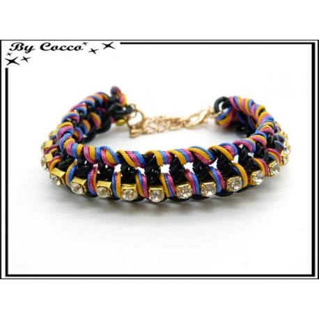 Bracelet - Strass - Entrelacés - Multicolor