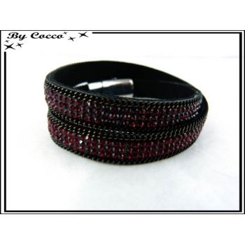 Bracelet - Double tour - Perles - Strass - Rouge