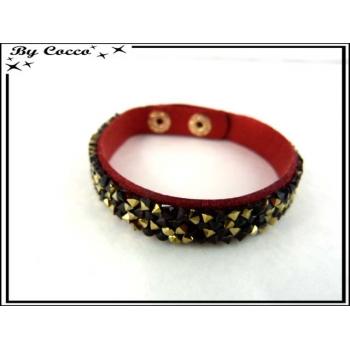 Bracelet - Perles - Rouge / Noir / Doré