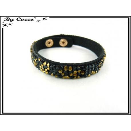 Bracelet - Perles - Noir / Doré