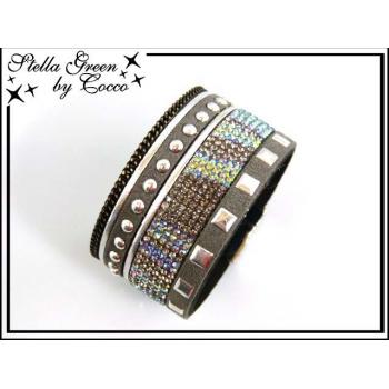 Bracelet Stella Green Strass / Ronds / Carrés - Gris