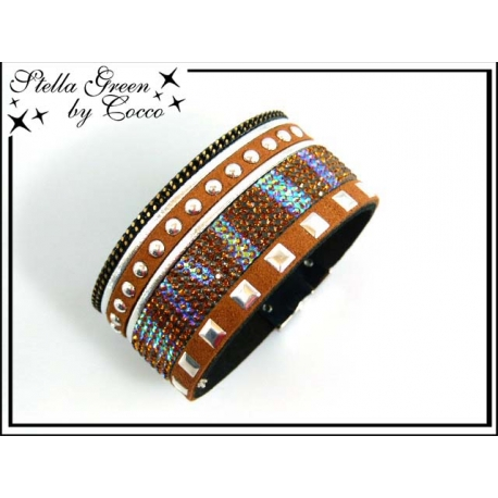 Bracelet Stella Green Strass / Ronds / Carrés - Camel