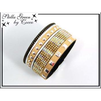 Bracelet Stella Green Strass / Ronds / Carrés - Doré