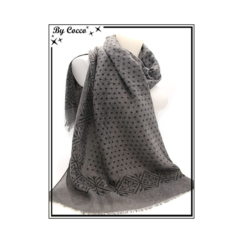 58d98cf7a8f Foulard - Pois   Frise - Gris. Loading zoom