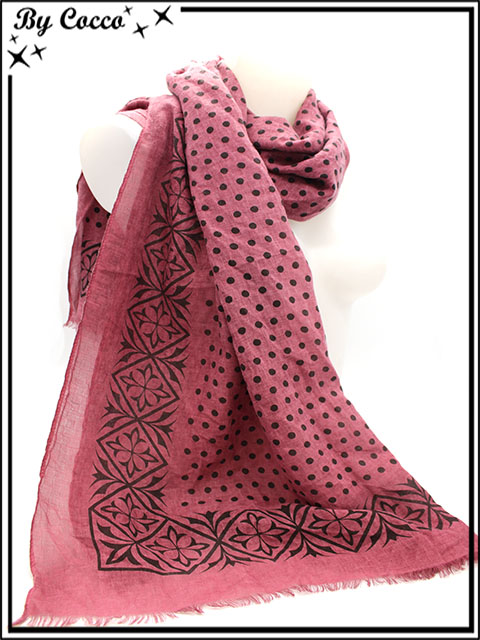 fab9aa1d257 Foulard - Pois   Frise - Prune - Cocconelle