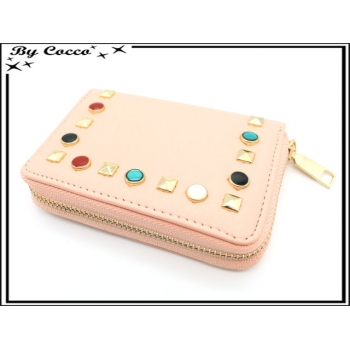 Porte-monnaie simple - Petit format - Clous de couleurs - Rose pastel