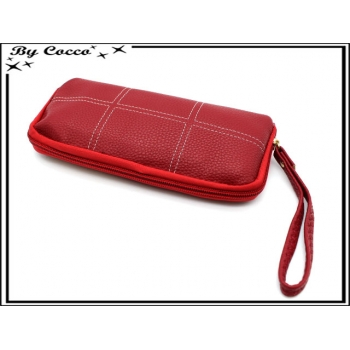 Porte-monnaie simple - Souple - Quadrillage - Rouge