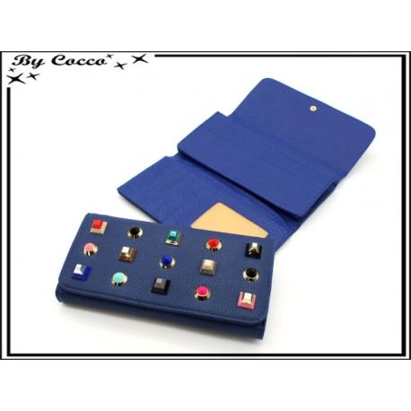 Porte-monnaie - Clous triangles - Bleu marine