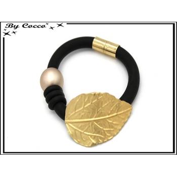 Bracelet - Aspect caoutchouc - Feuille - Perle - Doré