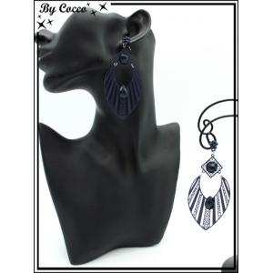 Boucles d'oreilles - Goutte - rayures filigranne ajourée - Perle - Bleu marine