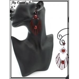 Boucles d'oreilles - Goutte - rayures filigranne ajourée - Perle - Bordeaux