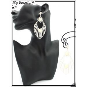 Boucles d'oreilles - Goutte - rayures filigranne ajourée - Perle - Ecru
