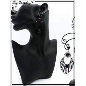 Boucles d'oreilles - Goutte - rayures filigranne ajourée - Perle - Noir