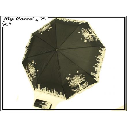 Parapluie - Pliant - Liseré dentelle - Ville - Noir / Ecru