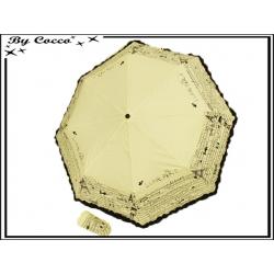 Parapluie - Pliant - Liseré dentelle - Paris - Ecru / Noir