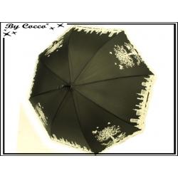 Parapluie - Canne - Liseré dentelle - Ville - Noir / Ecru
