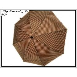 Parapluie - Canne - Quadrillage - Bordeaux / Gris