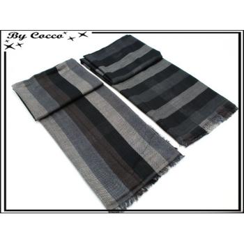 Foulard - Homme - Bi-color - Réversible - Rayures horizontales / verticales - Dégradé noir