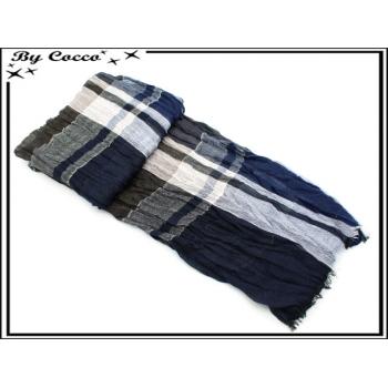 Foulard - Homme - Bi-color - Quadrillage - Accordéon - Bleu marine / Marron