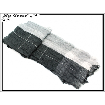 Foulard - Homme - Bi-color - Quadrillage - Accordéon - Noir / Blanc