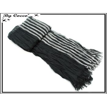 Foulard - Homme - Bi-color - Rayures - Accordéon - Noir / Blanc