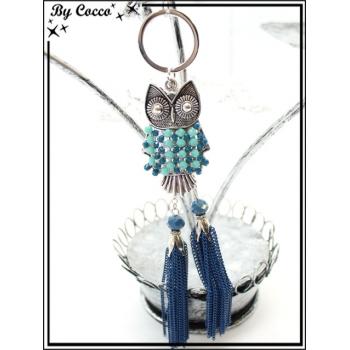 Bijoux de Sacs - Chouette - Perles - Double pompon chaînettes - Bleu