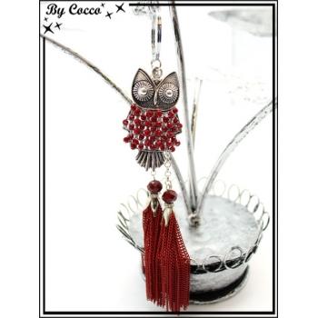 Bijoux de Sacs - Chouette - Perles - Double pompon chaînettes - Rouge