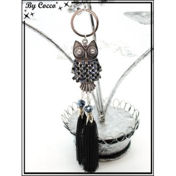 Bijoux de Sacs - Chouette - Perles - Double pompon chaînettes - Noir