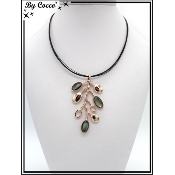 Collier - Branches cuivrés - Perles nacrés