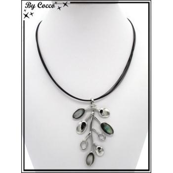 Collier - Branches argentés - Perles nacrés