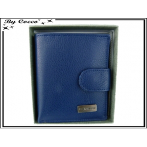 Petit Porte-monnaie carré cuir - Bleu marine