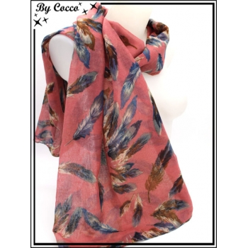 Foulard - Plumes - Bi-color - Fond rose saumon