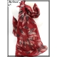 Foulard - Plumes - Bi-color - Fond rouge