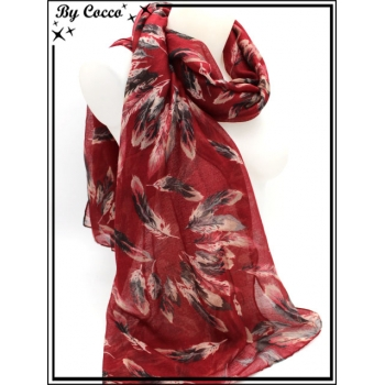 Foulard - Plumes - Bi-color - Fond rouge