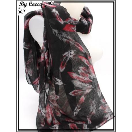 Foulard - Plumes - Bi-color - Fond noir