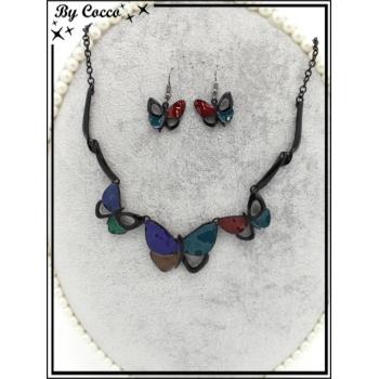 Parure - Métal - Papillons - Tons bleus